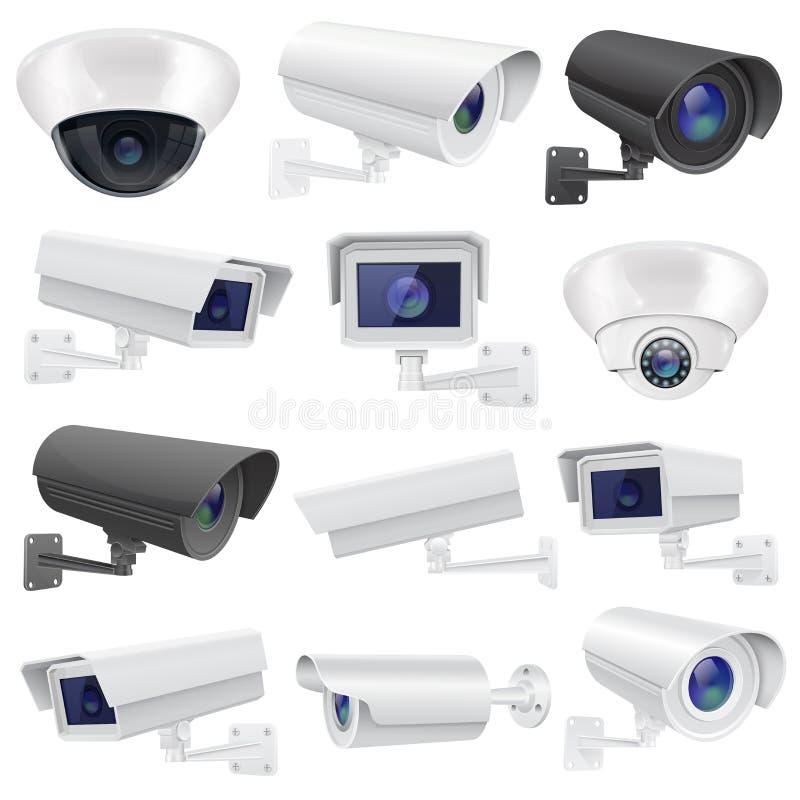 Cámara del CCTV Colección grande de sistema de vigilancia blanco y negro de la seguridad Pared y techo montados ilustración del vector