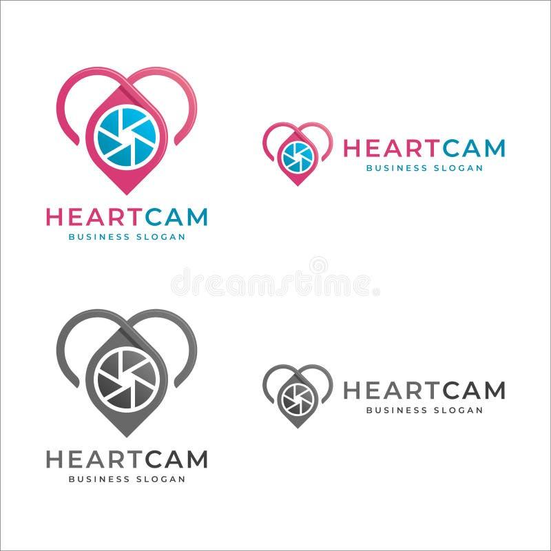 Cámara del corazón - logotipo de la foto del amor stock de ilustración