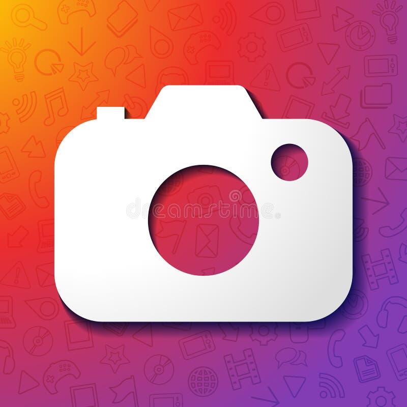 Cámara del instagram del ejemplo del vector, medios sociales o red con el fondo de la pendiente del color ilustración del vector