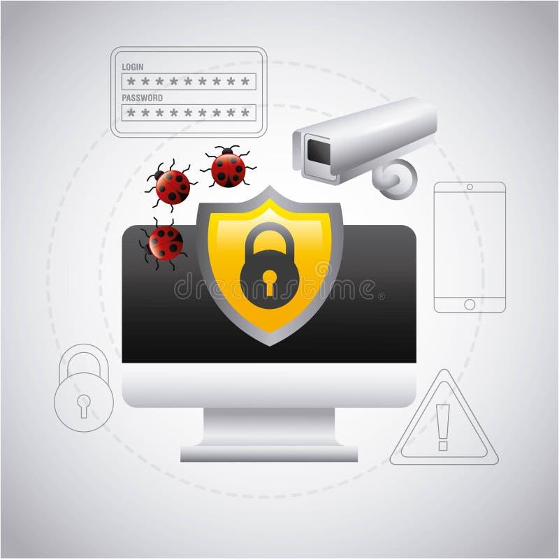 Cámara del virus de la seguridad de la protección del escudo de la pantalla de ordenador libre illustration