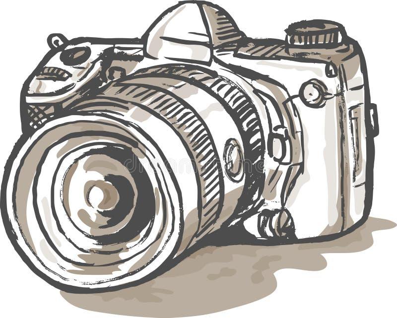 Cámara digital de drenaje de SLR ilustración del vector