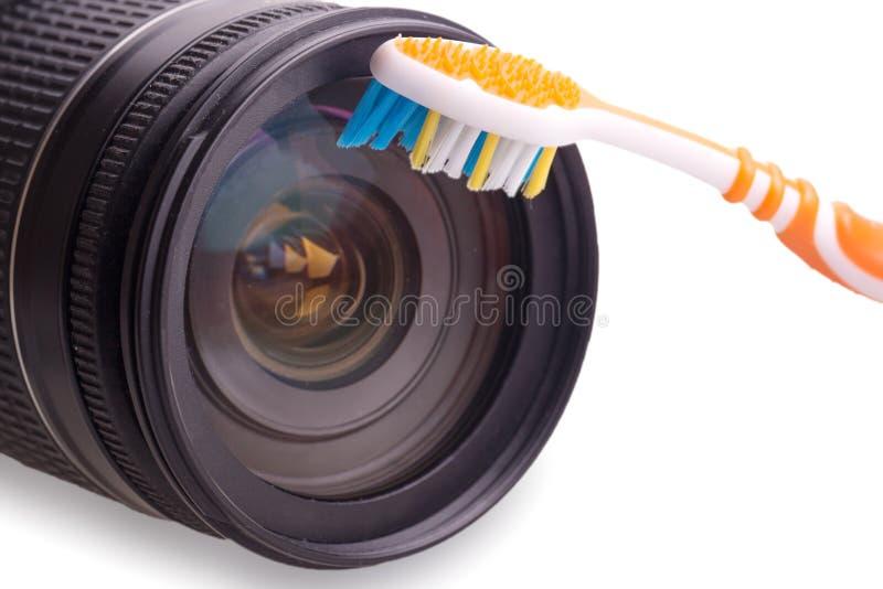 Cámara digital de la lente de la limpieza imagen de archivo libre de regalías