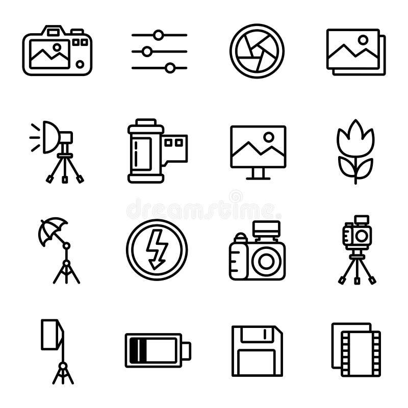Cámara e iconos y cámara de la fotografía ilustración del vector