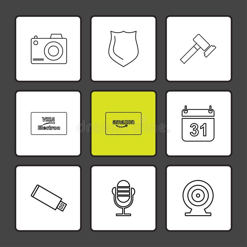cámara, escudo, martillo, calendario, tarjeta del Amazonas, usb, microph libre illustration