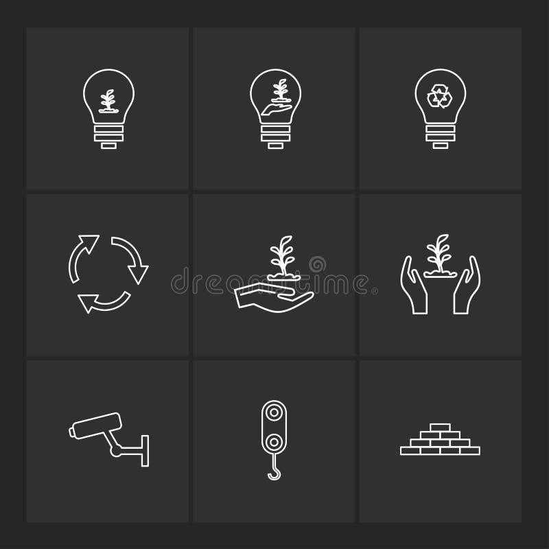 cámara, grúa, ladrillos, bulbo, ecología, reserva, naturaleza, recyc libre illustration