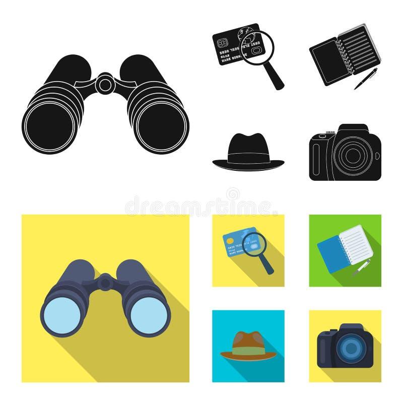 Cámara, lupa, sombrero, cuaderno con la pluma Iconos determinados de la colección del detective en la acción negra, plana del sím stock de ilustración
