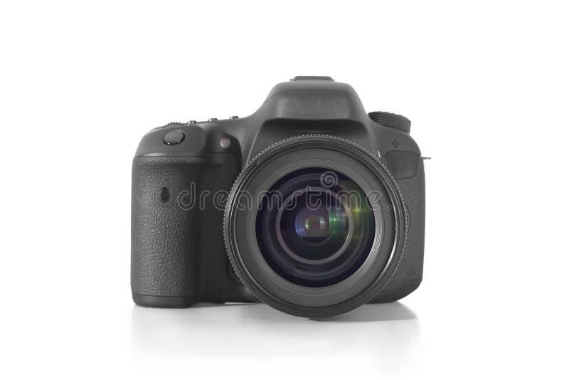Cámara profesional de la foto de DSLR con una lente de 35 milímetros en el plexiglás fotografía de archivo libre de regalías