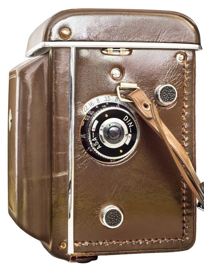 Cámara refleja de la lente gemela análoga vieja en la caja del cuero de Brown aislada en el fondo blanco foto de archivo libre de regalías