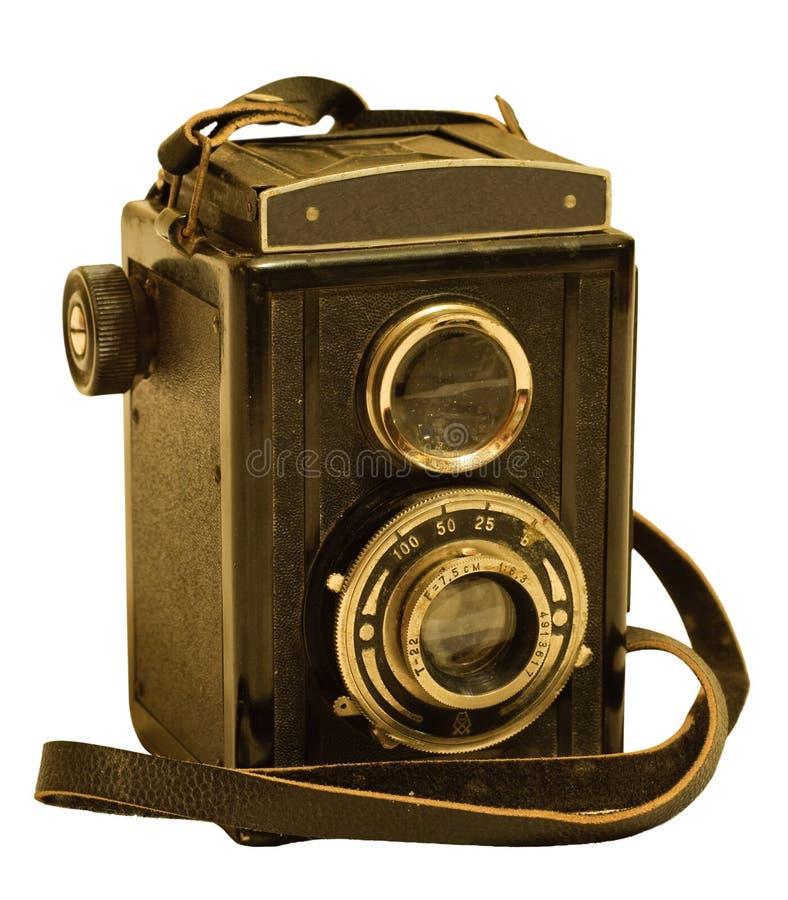 Cámara retra de la foto del dslr de dos lentes fotos de archivo