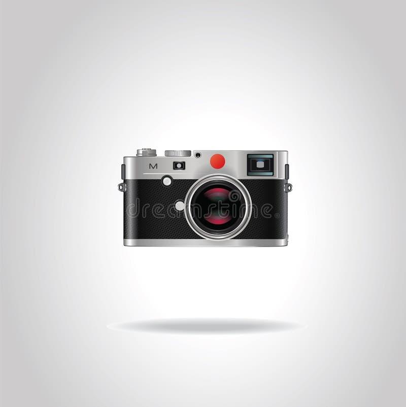 Cámara retra de la foto del estilo realista del vintage con la lente azul brillante ilustración del vector
