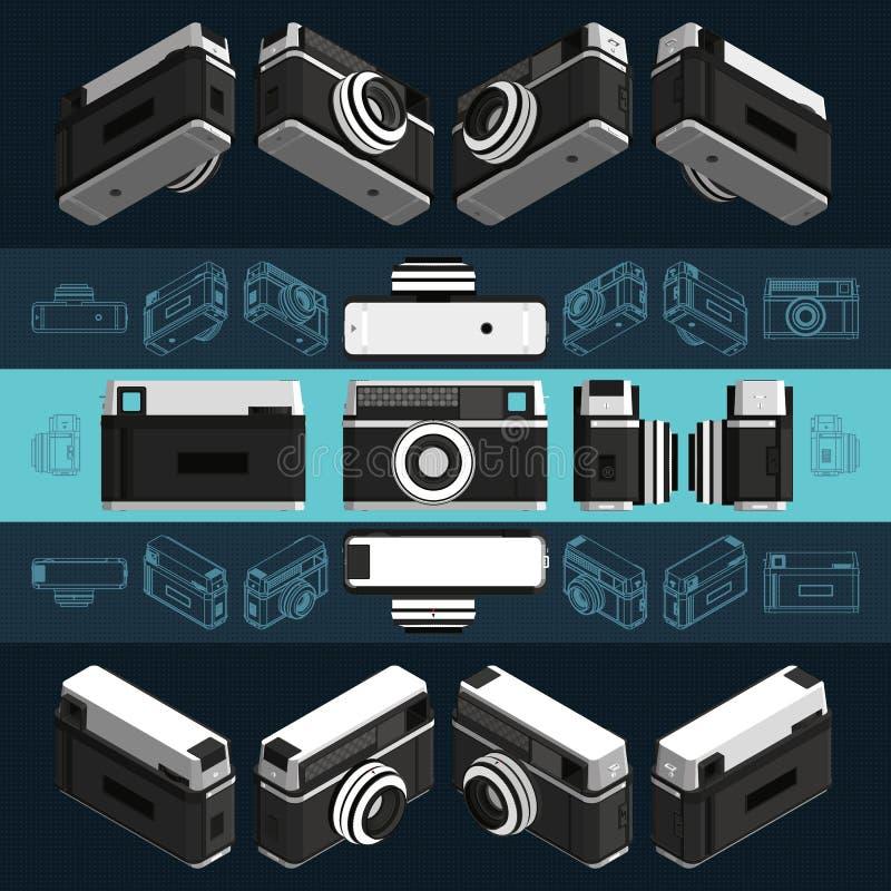 Cámara retra isométrica de la foto, 3D Conjunto 2 imágenes de archivo libres de regalías