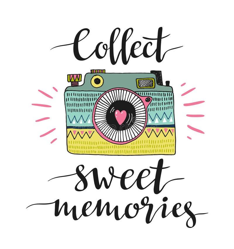 Cámara retra ornamental de la foto y las letras elegantes - recoja las memorias dulces Ilustración del vector ilustración del vector