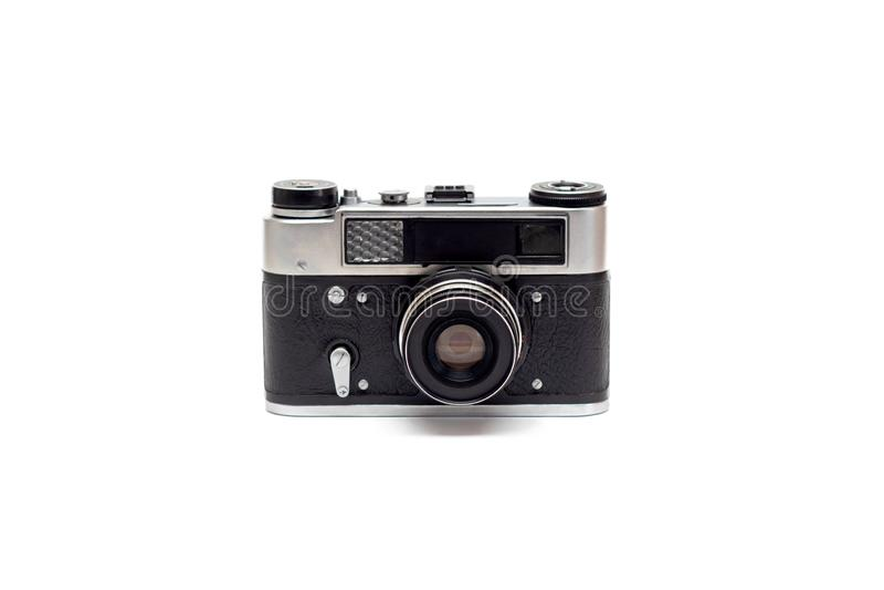 Cámara vieja de plata negra soviética con una lente aislante imágenes de archivo libres de regalías
