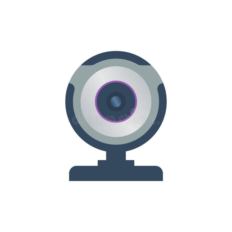 Cámara web coloreada aislada en el fondo blanco Icono plano del diseño stock de ilustración