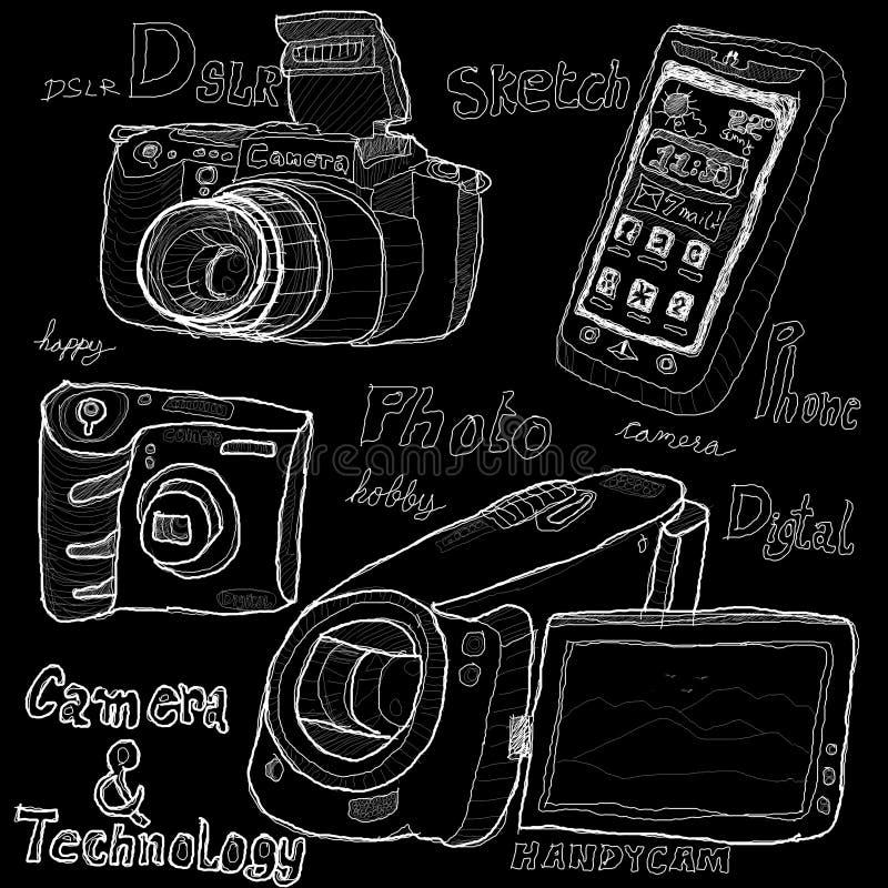 Cámara y tecnología ilustración del vector