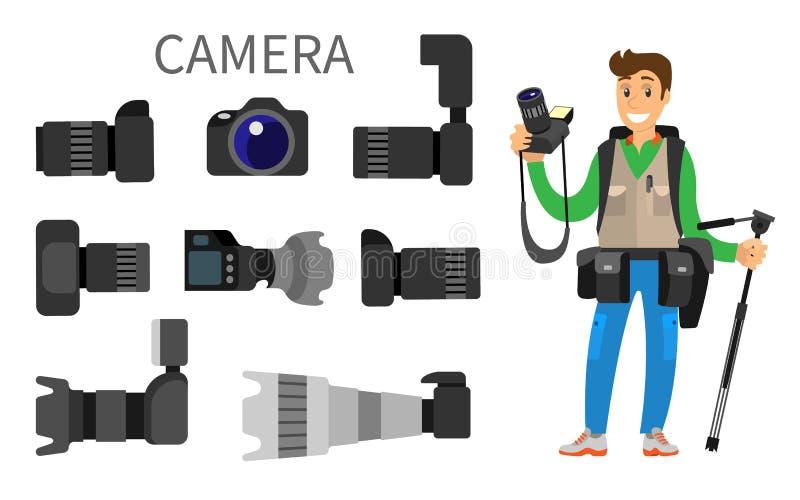 Cámaras con el icono de la lente, del fotógrafo y del equipo ilustración del vector