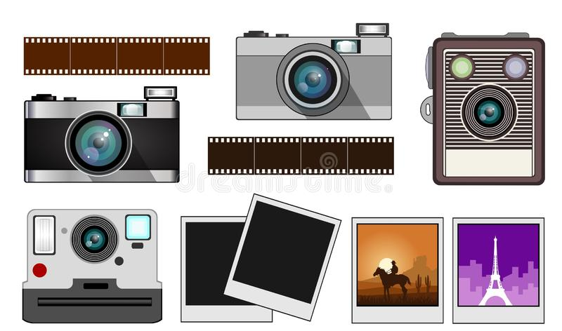 Cámaras de la película y de la foto del vintage ilustración del vector
