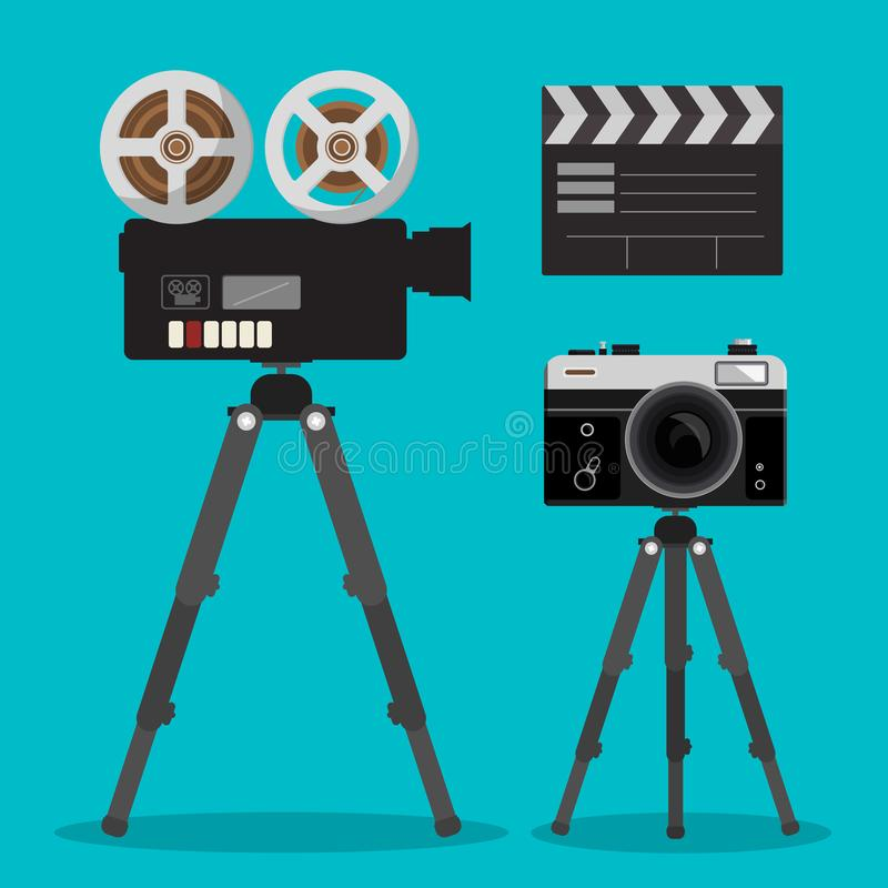 Cámaras de la película de la película y de la foto fijadas en los trípodes ilustración del vector