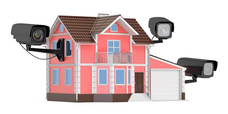 Cámaras de seguridad en el hogar, representación 3D ilustración del vector