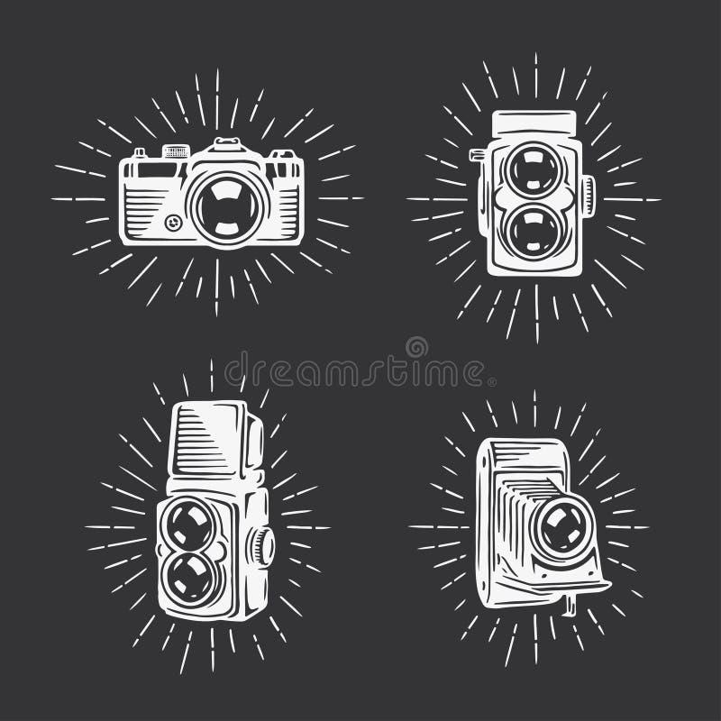 Cámaras retras de la foto fijadas Ejemplo dibujado mano del vintage del vector libre illustration