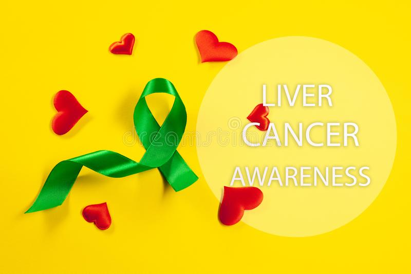 Cáncer de hígado y hepatitis B - cinta del mes de la conciencia de HVB, cinta de Emerald Green o del jade fotos de archivo libres de regalías