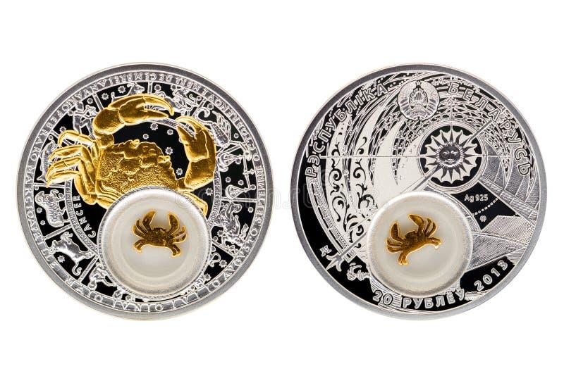 Cáncer de la astrología de la moneda de plata de Bielorrusia fotografía de archivo libre de regalías