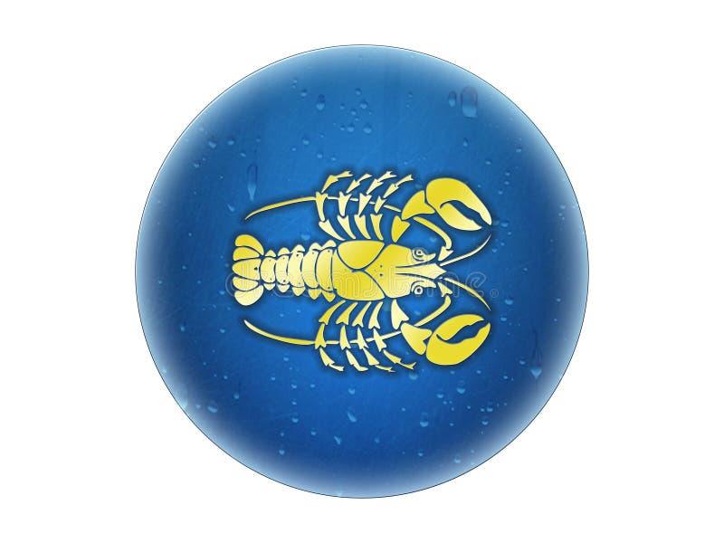Cáncer - muestra de oro del zodiaco stock de ilustración