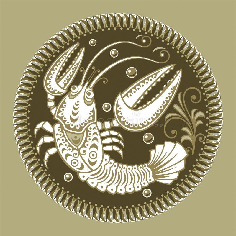 Cáncer, muestras del zodiaco ilustración del vector