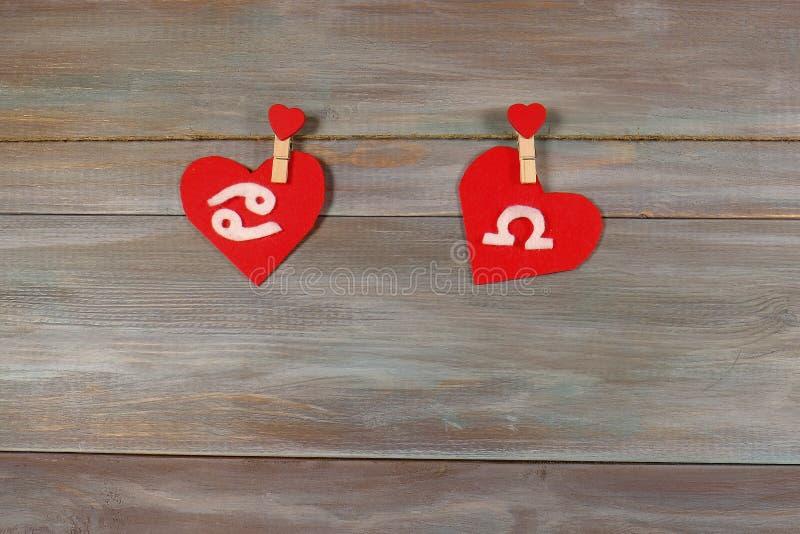 Cáncer y escalas muestras del zodiaco y del corazón Backgro de madera imagen de archivo libre de regalías