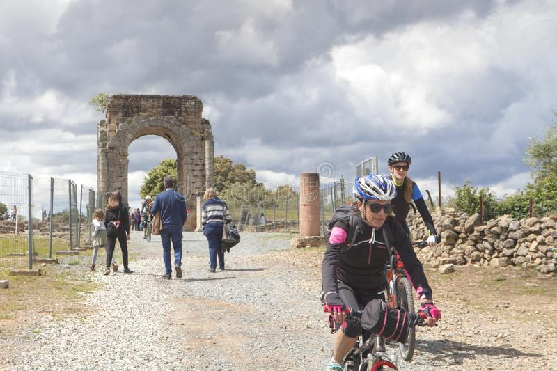 Tourism in Extremadura, Spain. Cáparra, Extremadura region, Spain: April 19, 2019: The Roman city of Cáparra is located in the ancient Roman province of stock photo