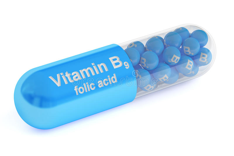 Cápsula B9, de la vitamina representación 3D ilustración del vector