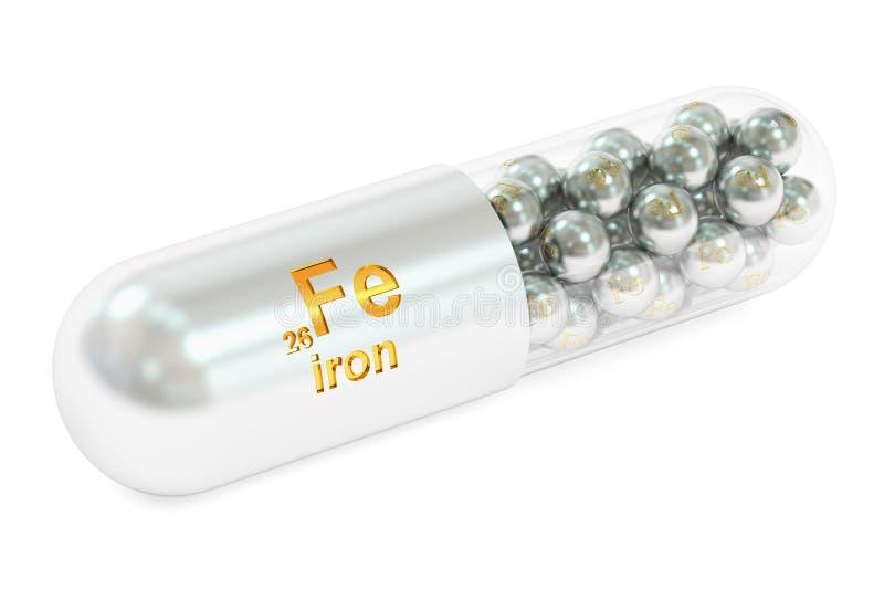 Cápsula con el suplemento dietético del elemento del FE del hierro, representación 3D ilustración del vector