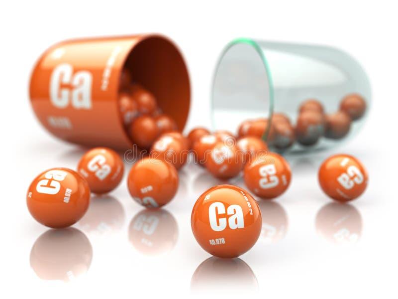 Cápsula con suplementos dietéticos del elemento de CA del calcio Pil de la vitamina ilustración del vector