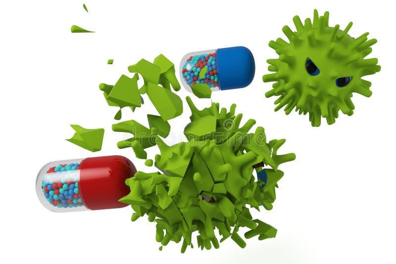 Cápsula CONTRA o vírus ilustração do vetor