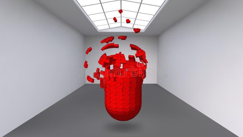 Cápsula de suspensão de muitos polígono pequenos na grande sala vazia O espaço da exposição é um objeto abstrato, forma esférica ilustração stock