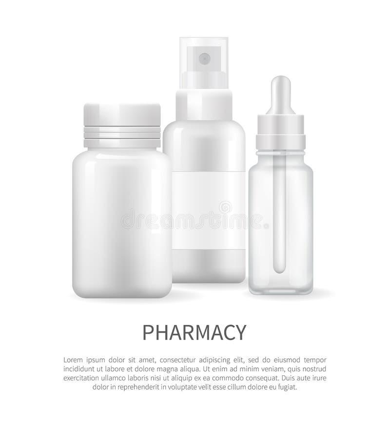 Cápsula del espray nasal y del envase del cartel de la farmacia libre illustration