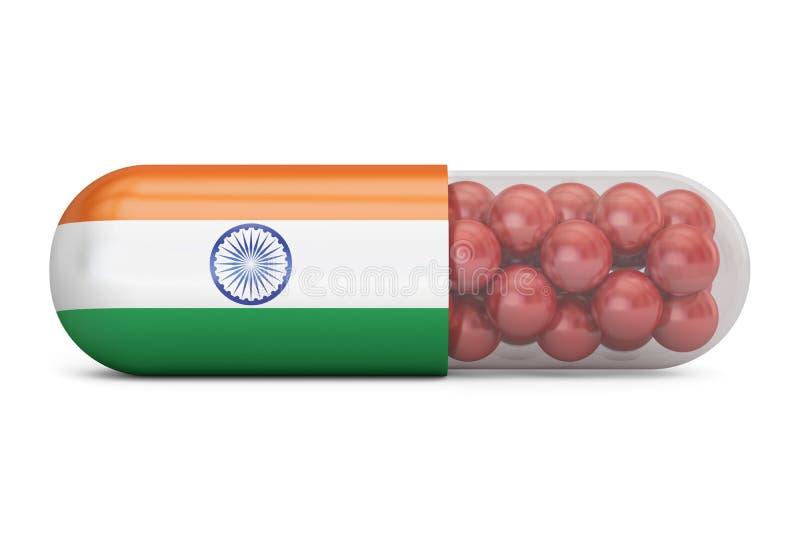 Cápsula do comprimido com bandeira da Índia Conceito indiano dos cuidados médicos, 3D ilustração royalty free