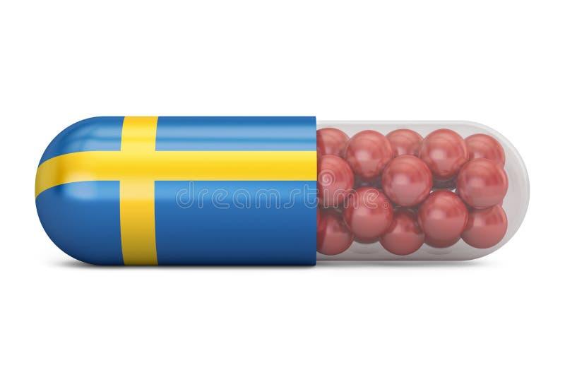 Cápsula do comprimido com bandeira da Suécia Conceito sueco dos cuidados médicos, 3D r ilustração royalty free