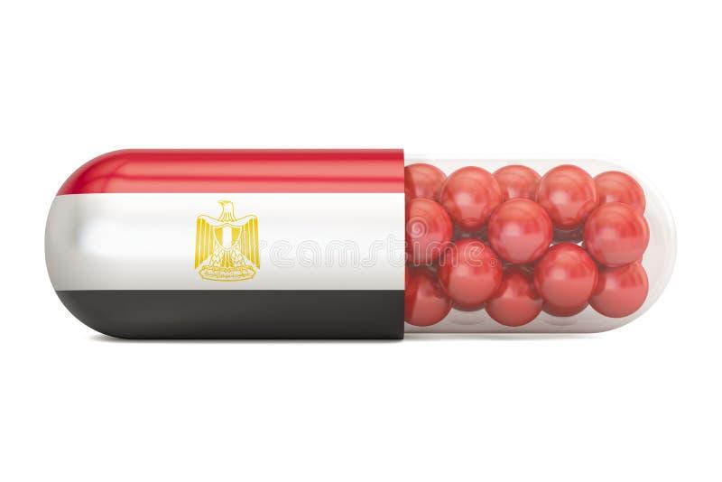 Cápsula do comprimido com bandeira de Egito, rendição 3D ilustração do vetor