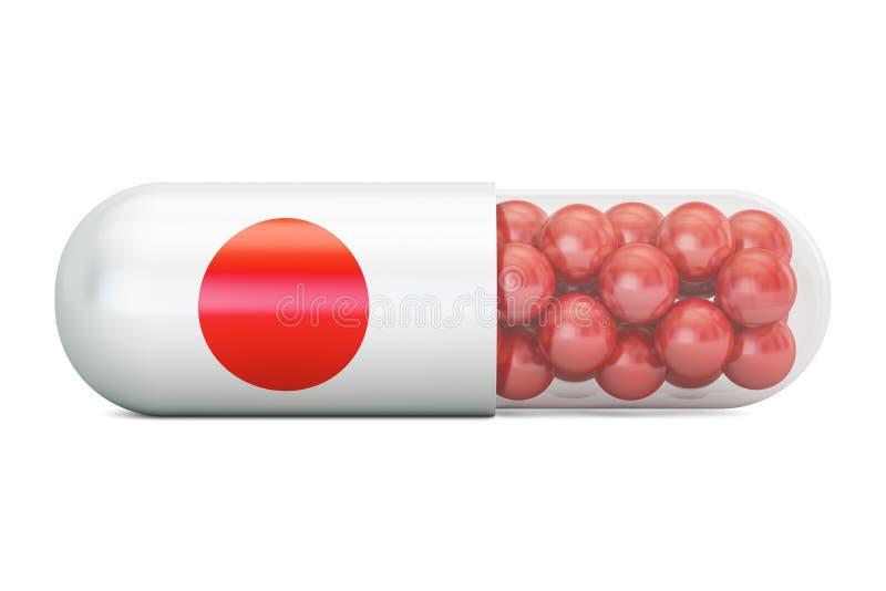 Cápsula do comprimido com bandeira de Japão, rendição 3D ilustração do vetor
