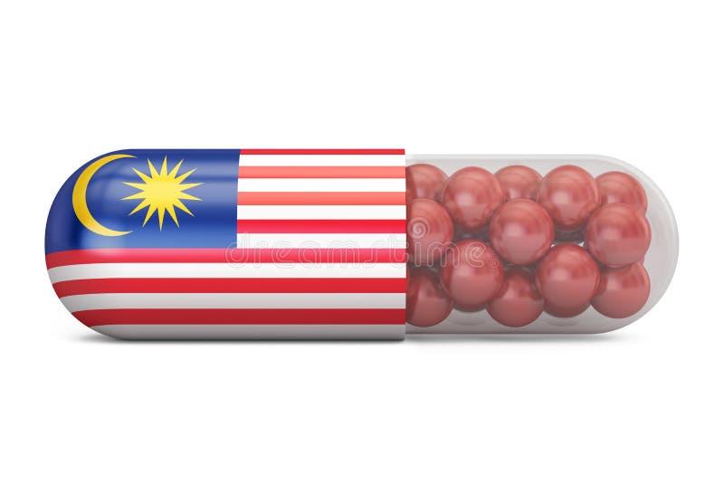 Cápsula do comprimido com bandeira de Malásia Conceito malaio dos cuidados médicos, ilustração royalty free