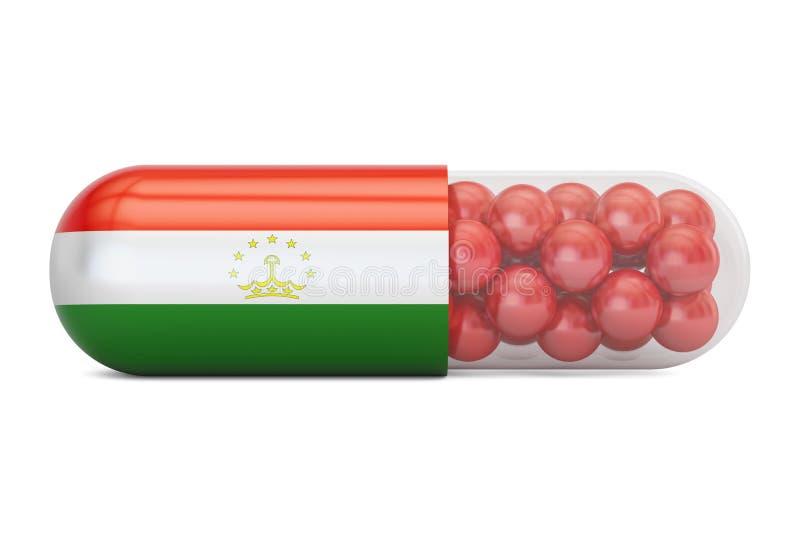 Cápsula do comprimido com bandeira de Tajiquistão, rendição 3D ilustração stock