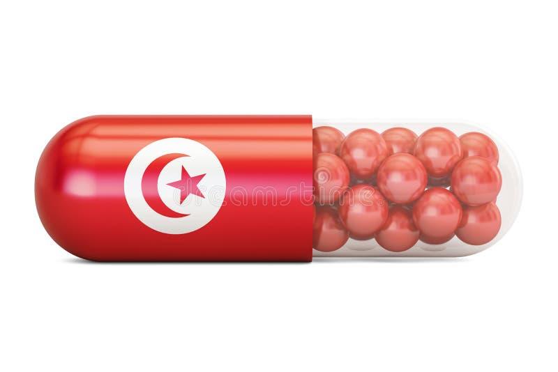 Cápsula do comprimido com bandeira de Tunísia, rendição 3D ilustração stock