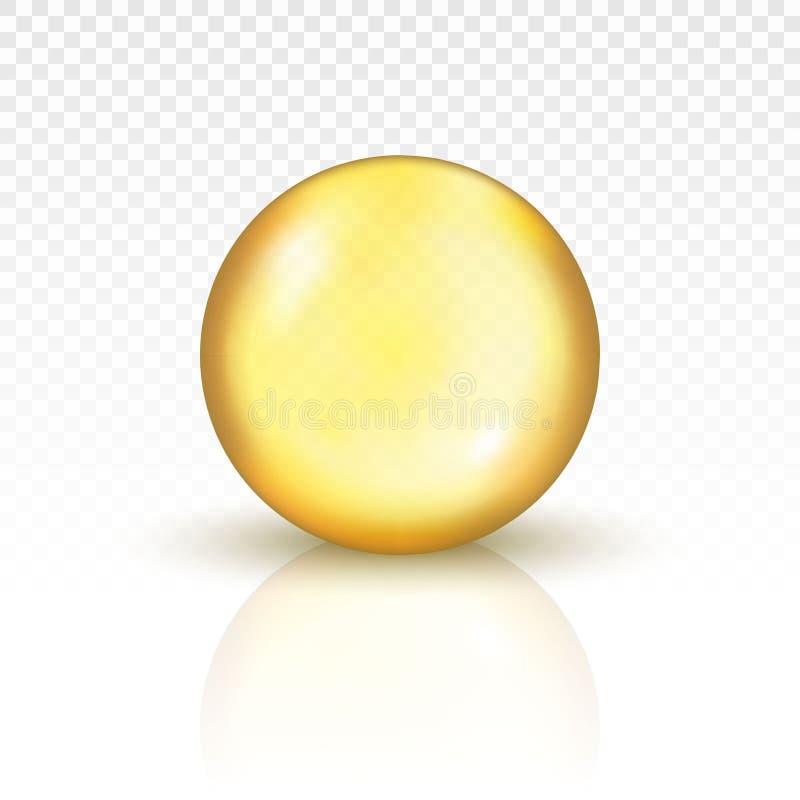 Cápsula do comprimido do ouro do óleo ilustração do vetor