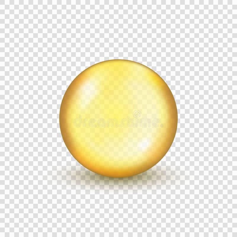 Cápsula do comprimido do ouro do óleo ilustração stock