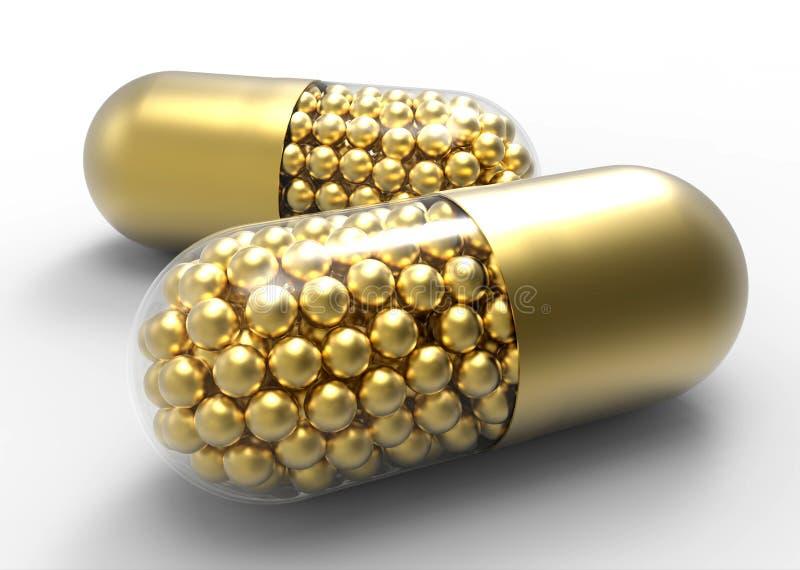 A cápsula dourada com ouro droga bolas no branco ilustração stock