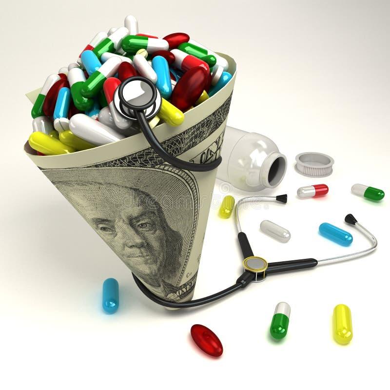 Cápsula en cono del dólar libre illustration