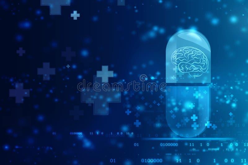Cápsula médica com fundo de Brain Inside, médico e dos cuidados médicos ilustração do vetor