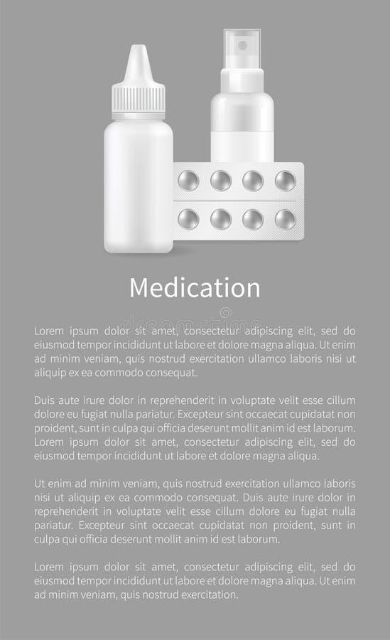Cápsula médica de los envases del espacio en blanco del cartel de la medicación ilustración del vector