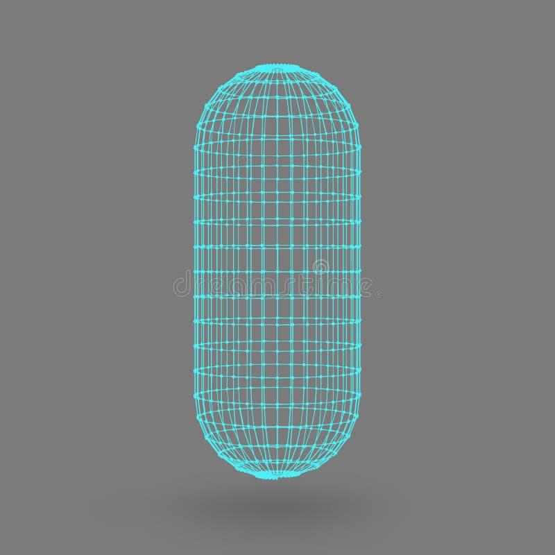 Cápsula poligonal La cápsula de las líneas puntos conectados Enrejado atómico Conducción del tanque de solución constructivo CCB  ilustración del vector